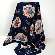 100% Silk Club 7 Echo Designer Scarf.  Navy & Flowers.  Perfect Condition.