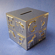"""Baby's Silver-Plated """"I Love to Learn"""" Coin Bank.  Square.  Mint Condition."""