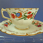 "Royal Crown Derby ""Chatsworth"" Pattern Cup & Saucer.  Gilt & Florals.  Perfect Condition."
