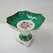 Limoges Pedestal Dish.  Comport.  Green, Gold & Florals.  Beautiful.  Mint Condition.