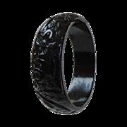 Black Carved Bakelite Bangle. Intricate Florals.