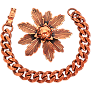 SALE Solid Copper Brooch & Heavy Link Bracelet.  Beautiful ++.  As New Condition.