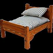 Rope Doll Bed with Mattress & Pillow.  Wooden.  Mattress Ticking.