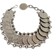 SALE Jewish  Israeli  Coin Link Bracelet.  Unusual.