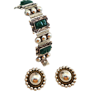 SALE Diaz Santoyo Heavy Sterling Silver & Carved Green Onyx Bracelet and Sterling Earrings