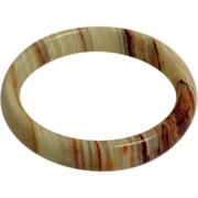 Banded Agate / Onyx Bangle.  Browns and Celadon Greens.  Perfect Condition.