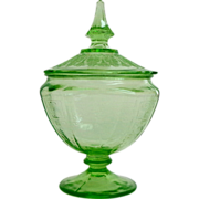 Covered Candy /  Condiment Dish.  Green Depression Glass.