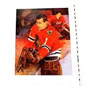 Limited Ed.  Signed.  GLENN HALL  Hockey Print.  Cert. of Auth.  As New Condition.