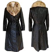 Black Leather Coat with Fox Collar and Zip Out Quilted Lining.  Perfect Condition.