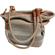 SAK Purse.  Crochet Shoulder / Tote.  Large.  Baize, Tan and Gray.  Super Versatile.  Near Min