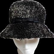 Persian Lamb Gray/Black Hat.  Custom Made.  Mint Condition.