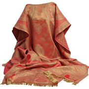 Indian Pashmina.  Paisley Shawl.  Rectangular.  Red and Gold. Absolutely Gorgeous.  As New Con