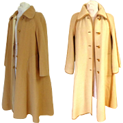 English Top Quality.  St. Michael 100% Wool Reversible Coat.  Tan and Cream.  Size 12-14 Tall.