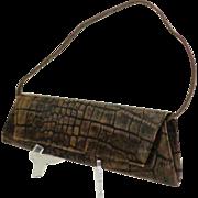 Genuine Leather DANIER Convertible Clutch / Handbag.  Brown Embossed Crocodile Design.  As New
