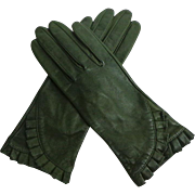 Elegant Olive Green Kid Leather Gloves.  Beautiful Detailing.  Size 7 Unworn.  As New Condition.