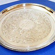 """Elegant, very large, 14""""  in diameter Birks (Canada's Tiffany) silverplated tray.  Pristine condition!  Engraved with gadrooned edge on feet."""