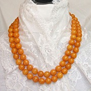 "Bakelite Necklace. 50"" Long Butterscotch Swirl! INCREDIBLE! Mint condition!"