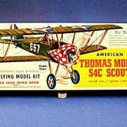 Guillow's American Thomas Morse S4C Scout Flying model kit.  1960's.  Unmade.  Mint condit