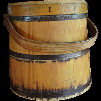 Large Yellow Wooden Firkin Pantry Box Sugar Bucket