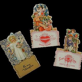 SALE Three Vintage German Die Cut Valentines TLC