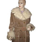 Vintage 1970's Tan Double Breasted Princess Coat Faux Lamb Fur ~ Sands Inner Circle
