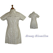 Vintage White Vinyl wet-look mini coat dress