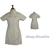 Vintage White Vinyl wet-look mini coat dress