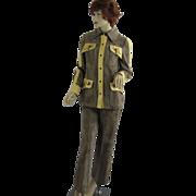 1970's Womens Mocha denim mod 2-piece pant suit