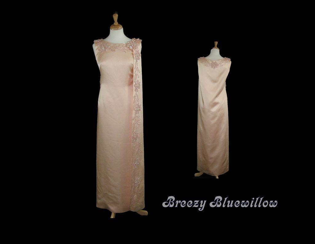 Vintage 1960's OOAK Peach Satin Evening Wiggle Dress Gown