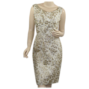 1960's Vintage Gold Brocade Wiggle Dress