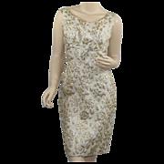 1960's Vintage Gold Brocade Wiggle Dress