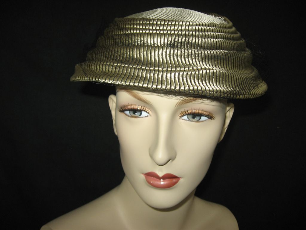 Vintage Champagne and Black Ladies Hat Topper