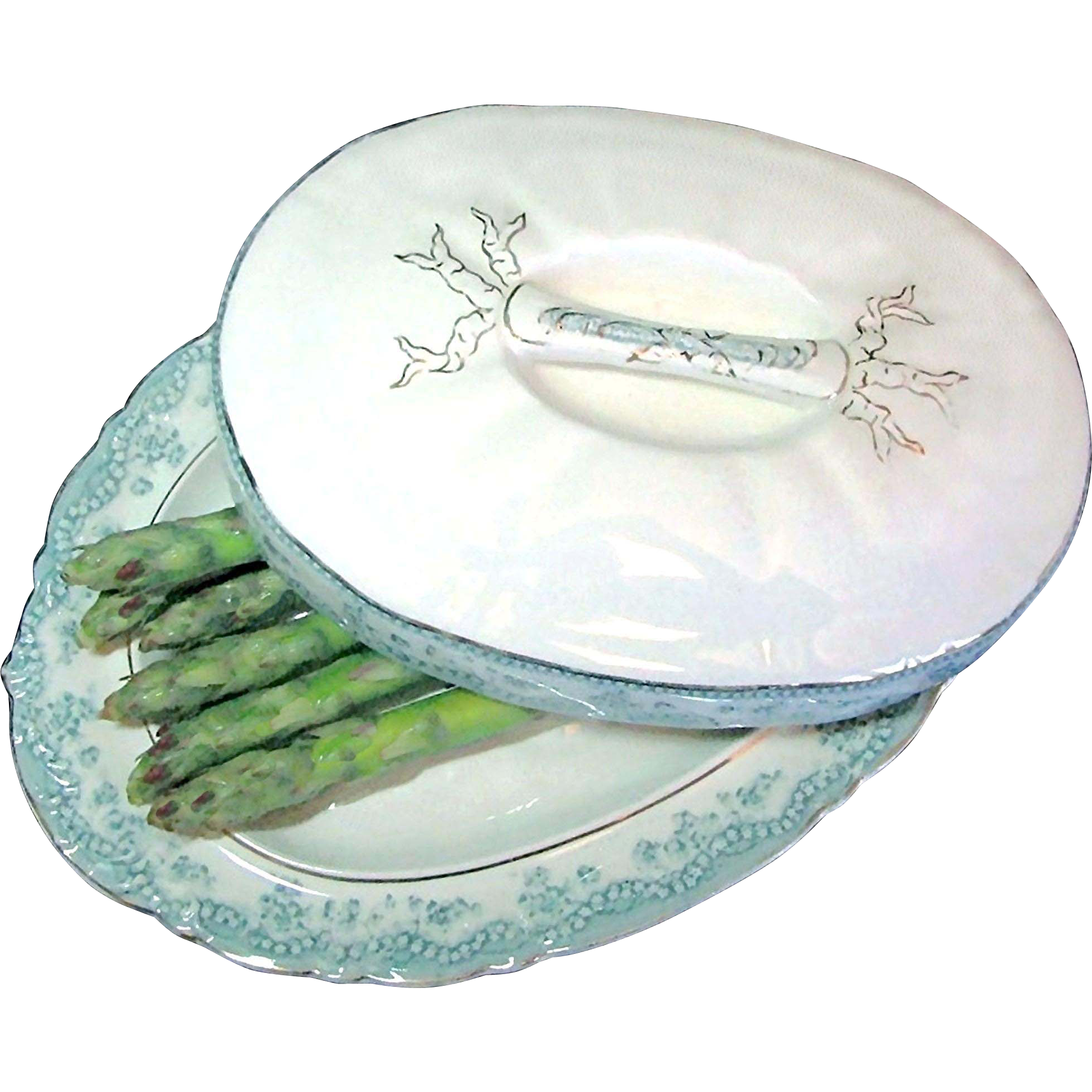 Staffordshire Covered Asparagus Boote' Platter John Maddock & Sons circa 1888
