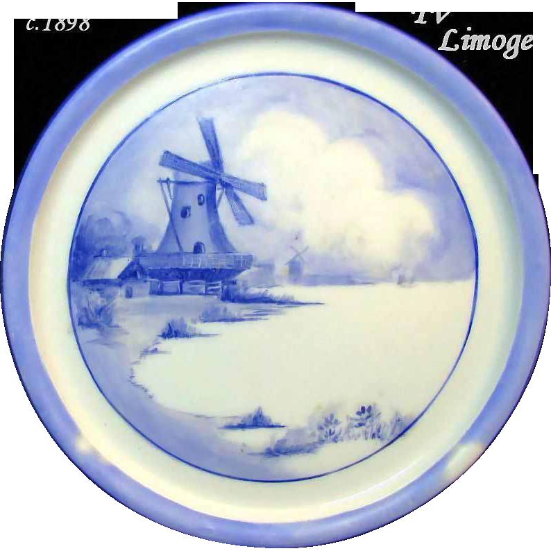 Outstanding LIMOGES' WINDMILL SCENE Teapot Trivet / Tile by Tressemann & Vogt c.1898