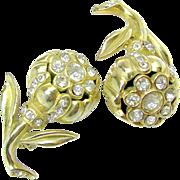 Mid - Century Coro Figural Designed Camellia Rhinestone Lapel - Scatter Pins c.1940's