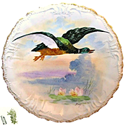 Limoges' Game Bird Plate Hand-painted by Listed Artist René circa 1896