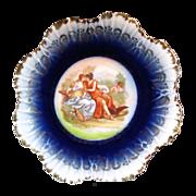 COBALT CHERUB & Hunters Cabinet Plate  Austrian Porcelain circa 1904