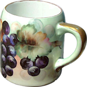 GRAPE CLUSTER MUG / Tankard German Porcelain Hand Painted circa 1900