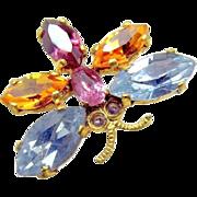 Multiple Color Rhinestone BUTTERFLY Gilded Brass Lapel Brooch