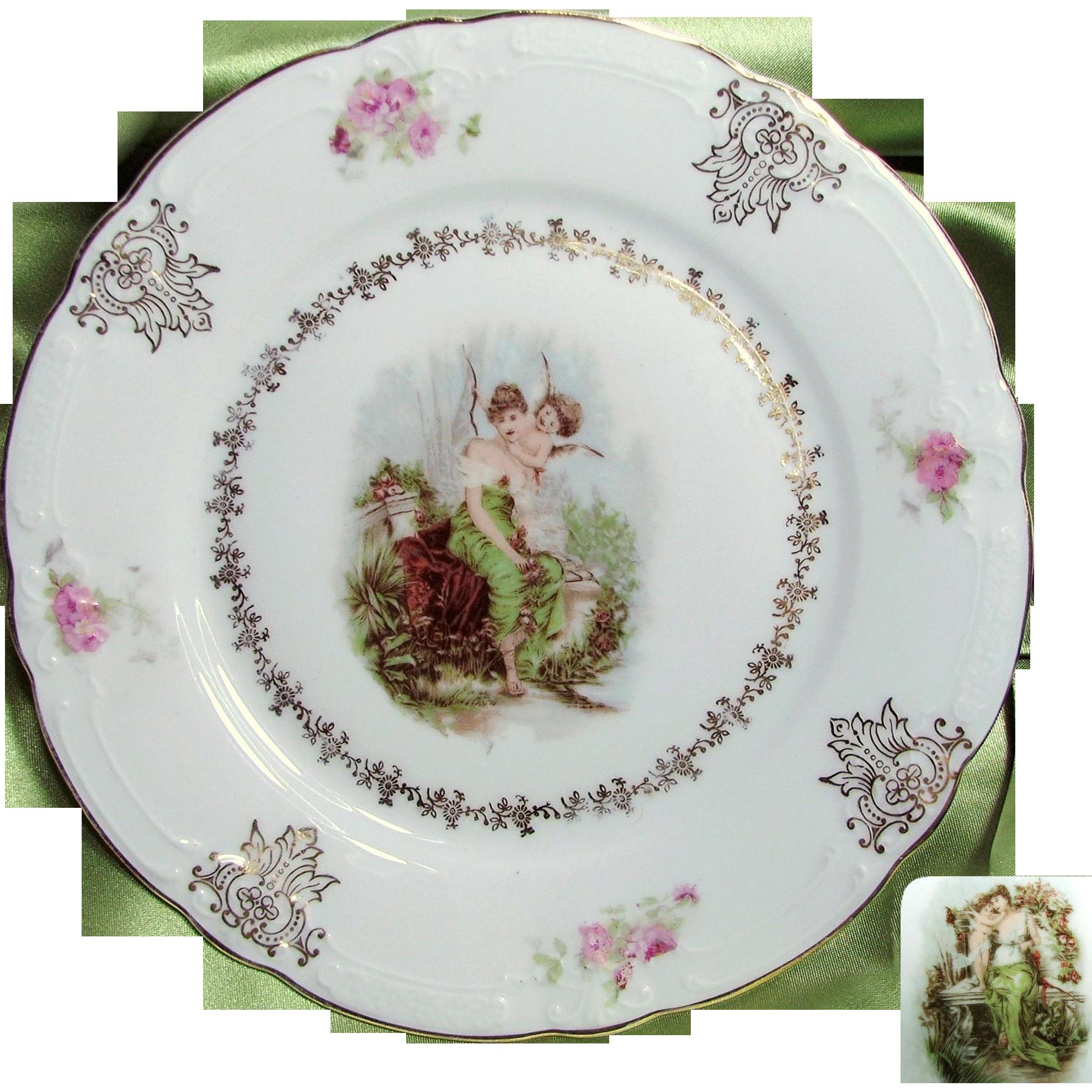 Art Nouveau Pair of CHERUB w/ Neo-Classical Maiden Cabinet Plates c.1900