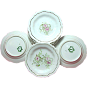Set of 8 Art Nouveau Pink ROSE Gilded BUTTER PATS - Austrian Porcelain c.1900