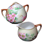 APPLE BLOSSOM Creamer & Sugar Austrian Hand Painted Porcelain circa 1899-1918