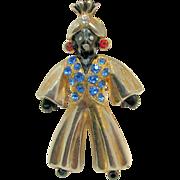 Full Figure Turbaned BLACKAMOOR Genie w/ Colorful Rhinestones c.1940's