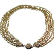 HASKELL's CLASSIC Glass PEARL 5-Strand Necklace Russian Gilt Chain c.1950's