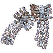 AUSTRIA's CLIMBER Earrings w/ Baguette & Round Clear White Rhinestones