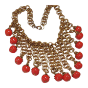 HASKELL's RED CORAL BIB of Art Glass w/ Russian Gilt Chain circa 1940's