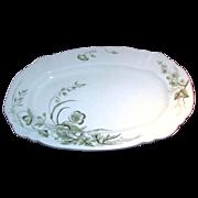 STAFFORDSHIRE TURKEY Platter w/ Soft Green Gilded Floral Design c.1891