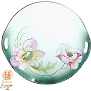 Art Nouveau Hand-Painted German Open Handled TRAY w/ PINK FLOWERS c.1900