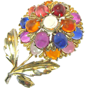 Mid - Century Tiered Jelly Belly Flower Brooch of Lucite Gumdrops c.1940's
