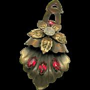 S. Friedman N.Y. Floral Dress Pin Clip w/ Fuchsia Rhinestones circa 1940's
